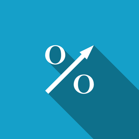 Percent up arrow icon isolated with long shadow. Increasing percentage sign. Flat design. Vector Illustration 일러스트