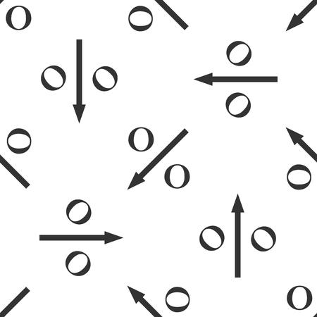 Percent down arrow icon seamless pattern on white background. Decreasing percentage sign. Flat design. Vector Illustration Illustration