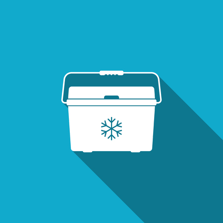Cooler bag icon isolated with long shadow. Portable freezer bag. Handheld refrigerator.