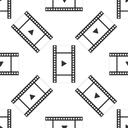 Play Video icon seamless pattern on white background. Film strip with play sign. Flat design. Vector Illustration Illustration