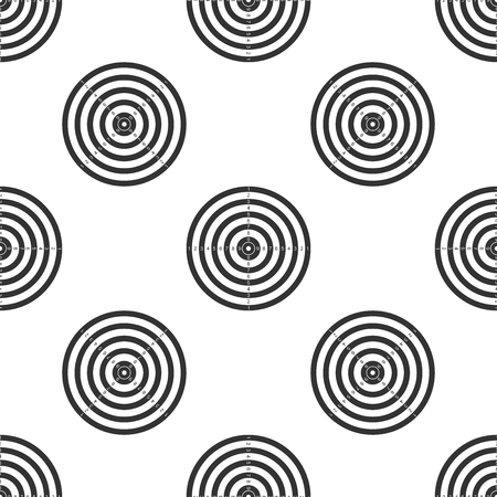 Target sport for shooting competition icon seamless pattern on white background. Clean target with numbers for shooting range or pistol shooting. Flat design. Vector Illustration