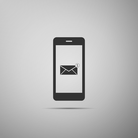 Received message concept. New email notification on the smartphone screen icon isolated on grey background.