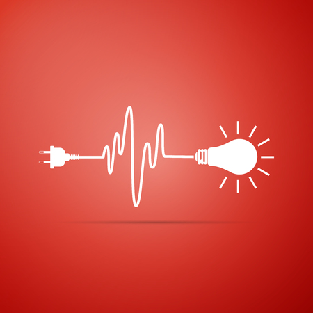 Wire plug and light bulb icon isolated on red background. Plug, lamp and cord in the form of heartbeat. Concept of Electricity and lighting. Flat design. Vector Illustration Vektoros illusztráció