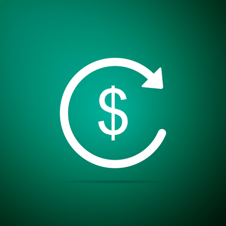 Refund money icon isolated on green background. Financial services, cash back concept, money refund, return on investment, savings account, currency exchange. Flat design. Vector Illustration Illustration