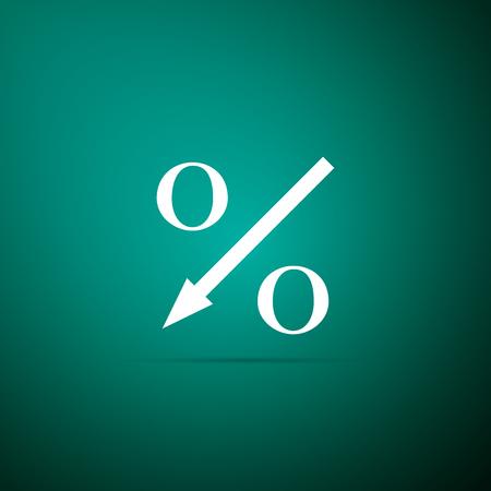 Percent down arrow icon isolated on green background. Decreasing percentage sign. Flat design. Vector Illustration Stock Illustratie