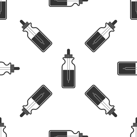 Glass bottle with a pipette. Vial with a pipette inside and closed lid isolated icon seamless pattern on white background. Container for medical and cosmetic product. Flat design. Vector Illustration