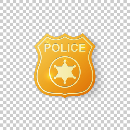 Realistic Golden police badge isolated object on transparent background. Sheriff badge symbol. Vector Illustration