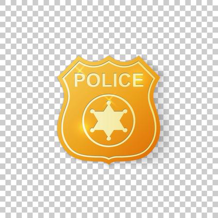 Objeto aislado de la insignia de policía de oro realista sobre fondo transparente. Símbolo de la insignia del sheriff. Ilustración vectorial