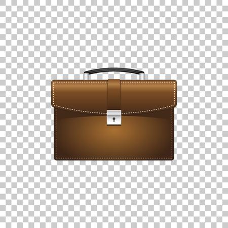 Porte-documents réaliste marron pour objet isolé entreprise sur fond transparent. Signe de cas commercial. Illustration vectorielle