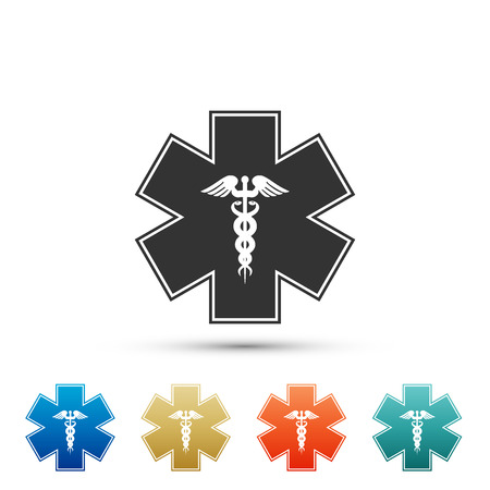 Emergency star - medical symbol Caduceus snake with stick icon isolated on white background. Star of Life. Set elements in colored icons. Flat design. Vector Illustration Ilustrace
