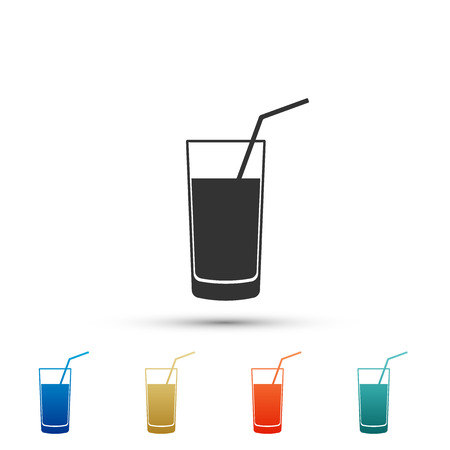 Soft drink icon isolated on white background. Set elements in colored icons. Flat design. Vector Illustration