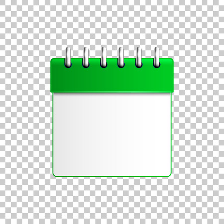 Realistic Calendar green isolated object on transparent background. Vector Illustration