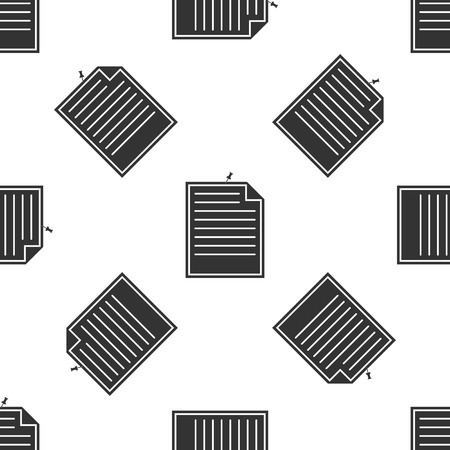 Note paper with pinned pushbutton isolated icon seamless pattern on white background. Memo paper sign. Flat design. Vector Illustration