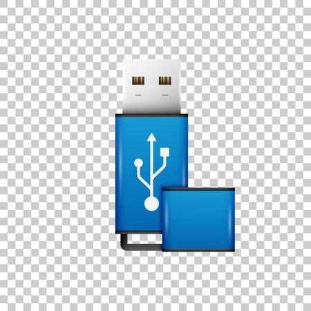 Objet isolé de lecteur flash USB bleu réaliste sur fond transparent. Illustration vectorielle Vecteurs