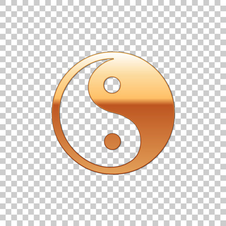 Golden Yin Yang symbol of harmony and balance isolated object on transparent background. Flat design. Vector Illustration 矢量图像