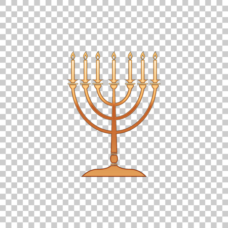 Golden Hanukkah menorah isolated object on transparent background. Religion icon. Hanukkah traditional symbol. Holiday religion, jewish festival of Lights. Flat design. Vector Illustration
