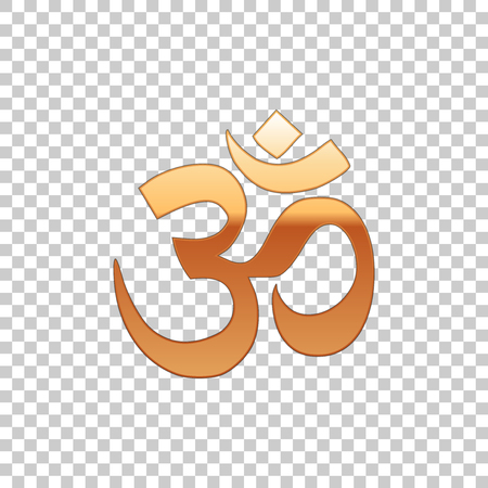 Gold Om or Aum Indian sacred sound isolated object on transparent background. Symbol of Buddhism and Hinduism religions. The symbol of the divine triad of Brahma, Vishnu and Shiva. Vector Illustration