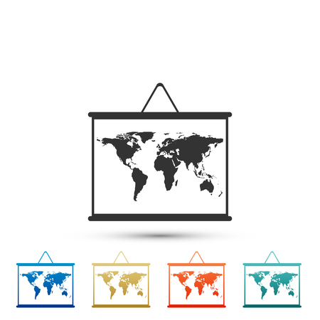 World map on a school blackboard icon isolated on white background. Drawing of map on chalkboard. Set elements in colored icons. Flat design. Vector Illustration Ilustração
