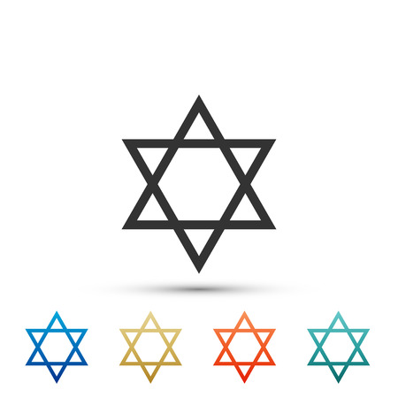 Star of David icon isolated on white background. Jewish religion symbol. Set elements in colored icons. Flat design. Vector Illustration