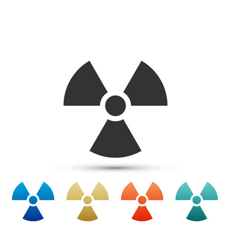 Radioactive icon isolated on white background. Radioactive toxic symbol. Radiation Hazard sign. Set elements in colored icons. Flat design. Vector Illustration Vectores