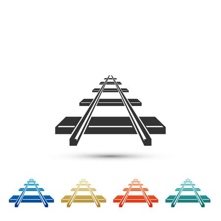 Ikona kolei na białym tle. Ustaw elementy w kolorowych ikonach. Płaska konstrukcja. Ilustracja wektorowa Ilustracje wektorowe