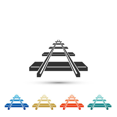 Railroad icon isolated on white background. Set elements in colored icons. Flat design. Vector Illustration Vektorové ilustrace