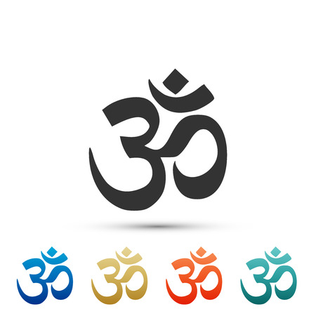 Om or Aum Indian sacred sound icon isolated on red background. Symbol of Buddhism and Hinduism religions. The symbol of the divine triad of Brahma, Vishnu and Shiva. Flat design. Vector Illustration Illustration