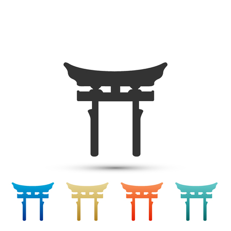 Japan Gate icon isolated on white background. Torii gate sign. Japanese traditional classic gate symbol. Set elements in colored icons. Flat design. Vector Illustration