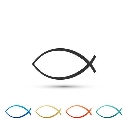 Christian fish symbol icon isolated on white background. Jesus fish symbol. Set elements in colored icons. Flat design. Vector Illustration Illustration