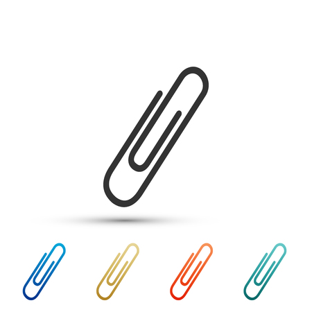 Paper clip icon isolated on white background. Set elements in colored icons. Flat design. Vector Illustration