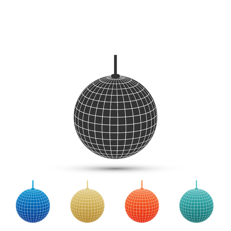 Disco ball icon isolated on white background. Set elements in colored icons. Flat design. Vector Illustration