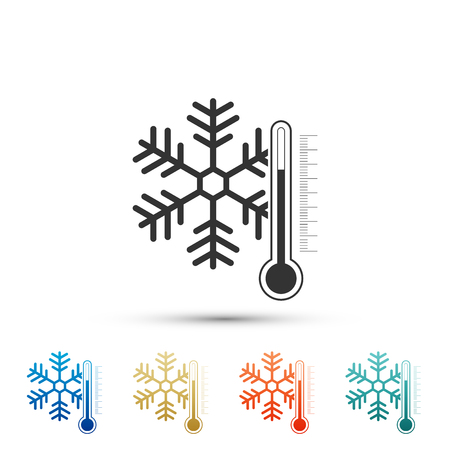 Thermometer with snowflake icon isolated on white background. Set elements in colored icons. Flat design. Vector Illustration