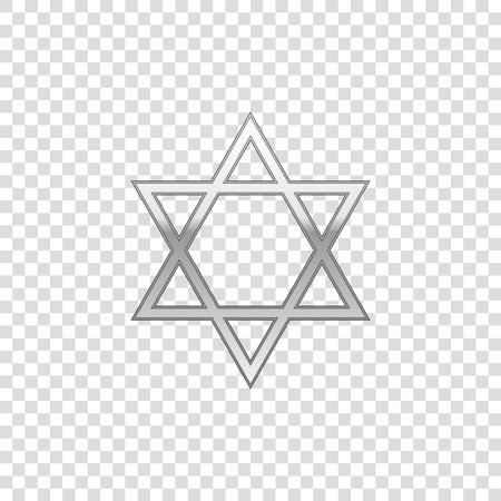 Silver Star of David isolated object on transparent background. Jewish religion symbol. Flat design. Vector Illustration Illustration