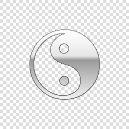 Silver Yin Yang symbol of harmony and balance isolated object on transparent background. Flat design. Vector Illustration 矢量图像