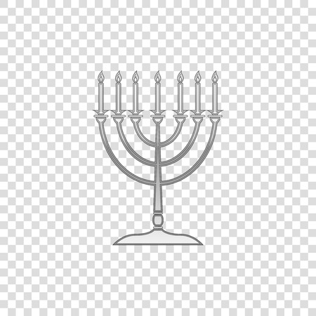 Silver Hanukkah menorah isolated object on transparent background. Religion icon. Hanukkah traditional symbol. Holiday religion, jewish festival of Lights. Flat design. Vector Illustration