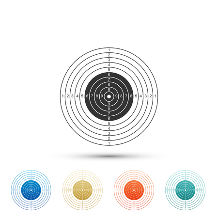 Target sport for shooting competition icon isolated on white background. Clean target with numbers for shooting range or pistol shooting. Set element in colored icons. Flat design. Vector Illustration Illustration