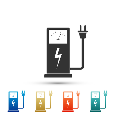 Electric car charging station icon isolated on white background. Set elements in colored icons. Flat design. Vector Illustration