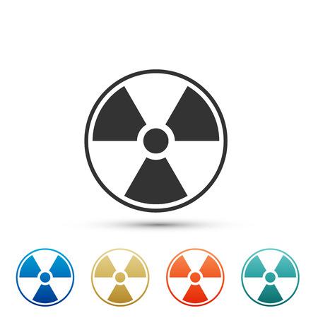 Radioactive icon isolated on white background. Radioactive toxic symbol. Radiation Hazard sign. Set elements in colored icons. Flat design. Vector Illustration Imagens - 110863807