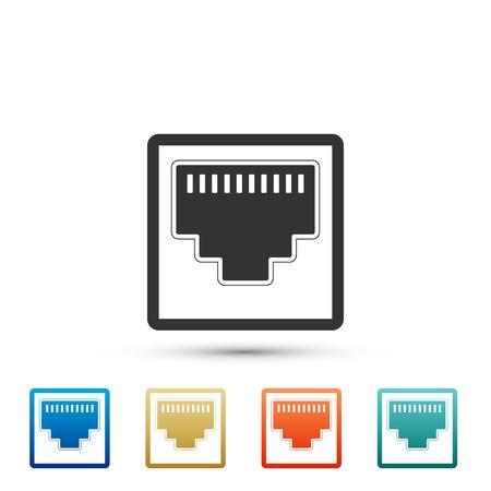 Porta di rete - icona presa cavo isolato su priorità bassa bianca. Icona della porta LAN. Vettoriali