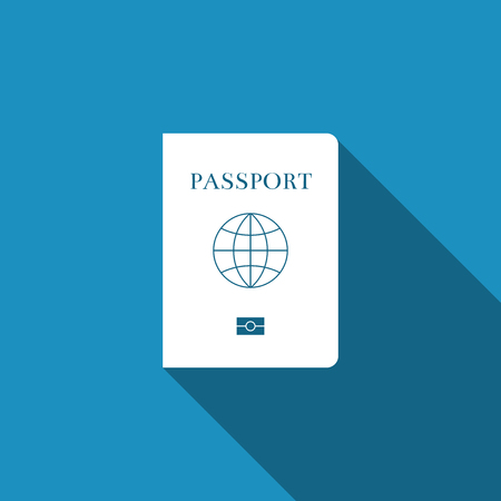 Passport with biometric data icon isolated with long shadow. Identification Document. Flat design. Vector Illustration