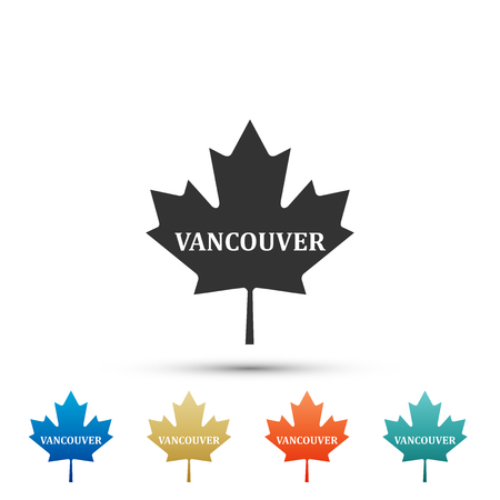 Canadian maple leaf with city name Vancouver icon isolated on white background. Set elements in colored icons. Flat design. Vector Illustration