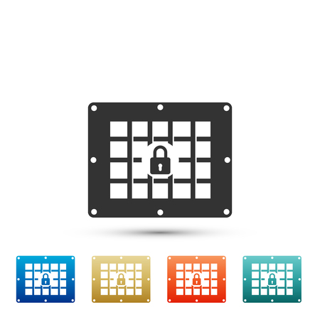 Prison window icon isolated on white background. Set elements in colored icons. Flat design. Vector Illustration