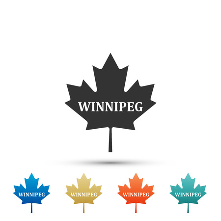 Canadian maple leaf with city name Winnipeg icon isolated on white background. Set elements in colored icons. Flat design. Vector Illustration