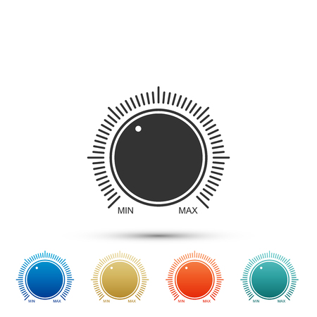 Wählen Sie das Symbol für die Technologieeinstellungen auf Knopfdruck isoliert auf weißem Hintergrund. Lautstärketaste, Klangregelung, Musikknopf mit Zahlenskala, analoger Regler. Farbige Symbole. Flaches Design. Vektorillustration Vektorgrafik