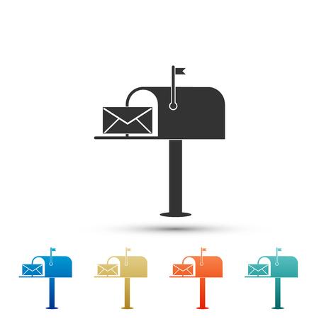 Boîte aux lettres ouverte avec une icône d'enveloppe isolée sur fond blanc. Définir des éléments dans des icônes colorées. Conception plate. Illustration vectorielle