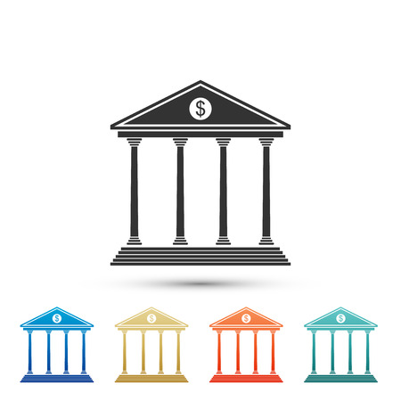 Bank building icon isolated on white background. Set elements in colored icons. Flat design. Vector Illustration