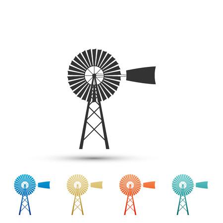 Windmühlensymbol isoliert auf weißem Hintergrund. Legen Sie Elemente in farbigen Symbolen fest. Flaches Design. Vektorillustration Vektorgrafik
