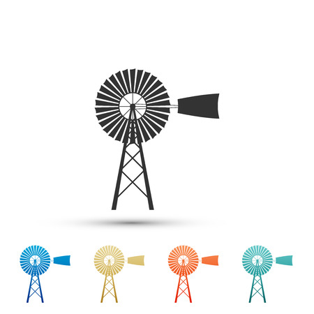 Windmill icon isolated on white background. Set elements in colored icons. Flat design. Vector Illustration Векторная Иллюстрация