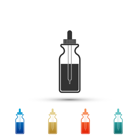 Glass bottle with a pipette. Vial with a pipette inside and closed lid icon isolated on white background. Container for medical and cosmetic product. Colored icons. Flat design. Vector Illustration  イラスト・ベクター素材