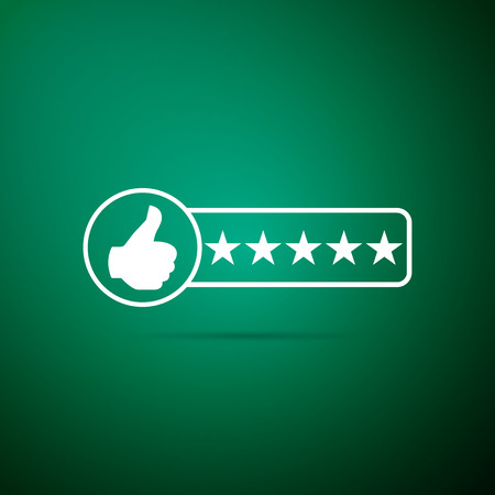 Consumer or customer product rating icon isolated on green background. Flat design. Vector Illustration